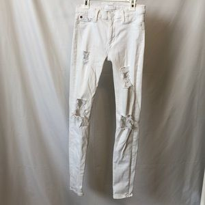 Hudson White Distressed Jeans
